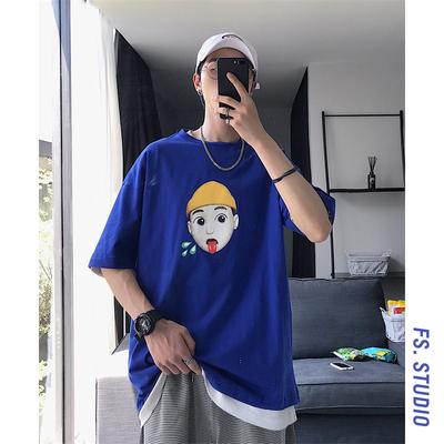 @方少男装 2019夏季新款短袖T恤潮牌印花ins港风宽松半袖打底体恤