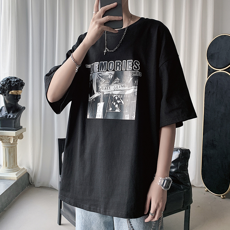 Fang Shao men's spring and summer Hong Kong wind print couple short-sleeved T-shirt men's and women's Korean version of the inlay casual bottomshirt tide