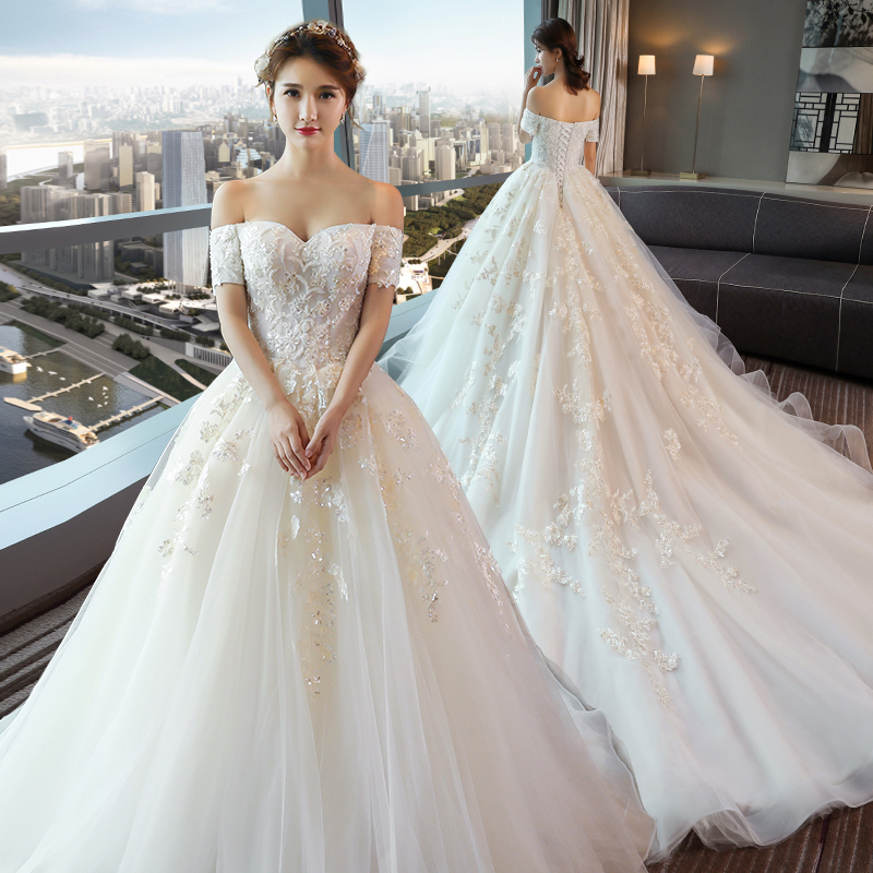 Word Shoulder Long Tail Wedding Dress Bride New 2018 Autumn And Winter Korean Lace Court Simple
