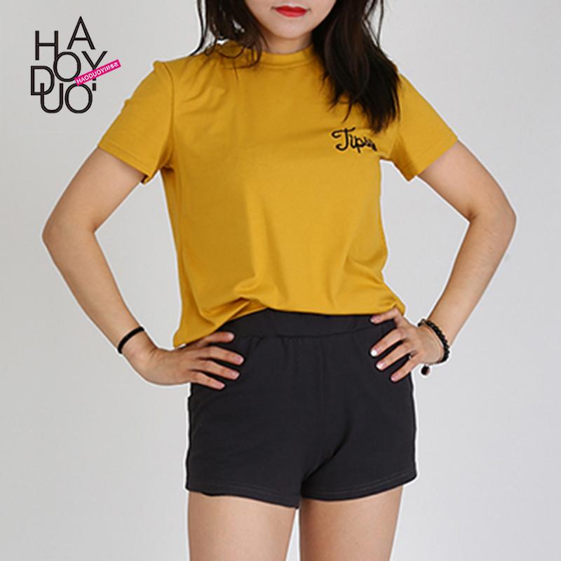 Haoduoyia短袖简约短袖风时尚基础刺绣纯色套头学院直筒字母t恤女