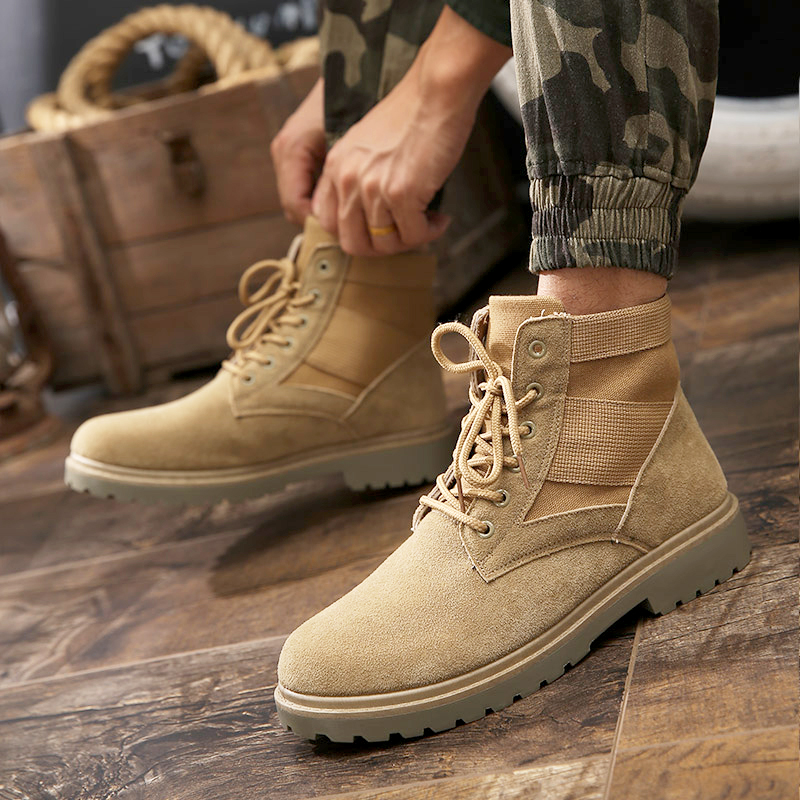 257c8003059 Autumn and winter Martin boots men's cotton shoes in the tooling rhubarb  army boots tide desert shoes men plus velvet snow boots