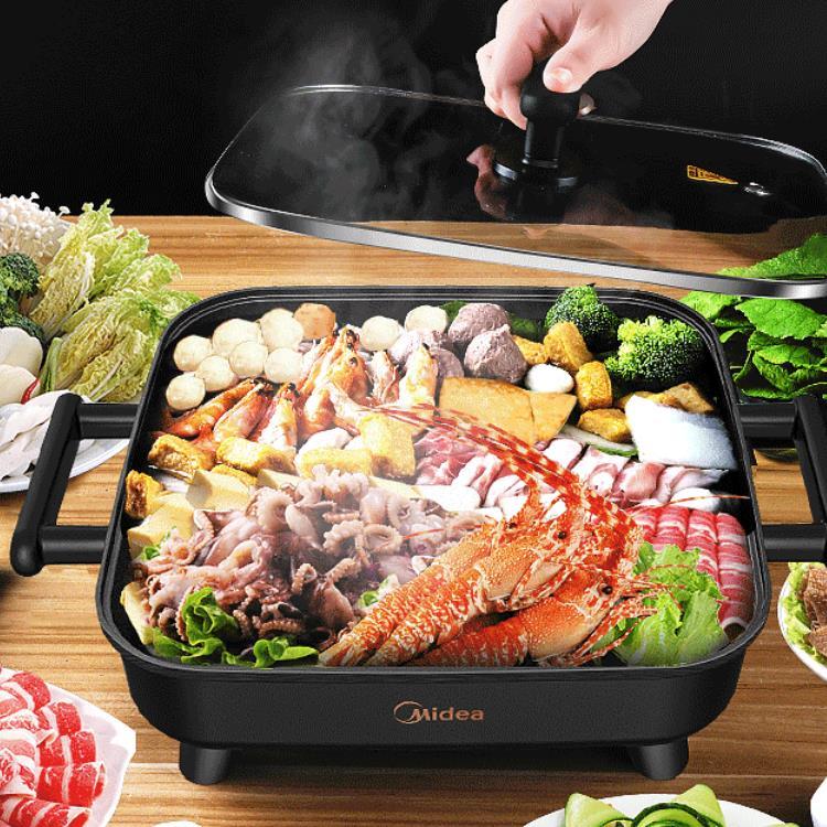美的電火鍋鍋家用插電多功能電熱炒鍋宿舍炒菜燒烤涮一體鍋電煮鍋