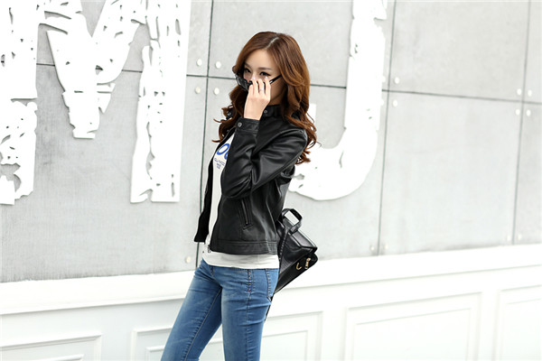 18 Fashion New Women's Jacket European Fashion Leather Jacket Pimkie Cleaning Single PU Leather Motorcycle Temale Women's Leat 2