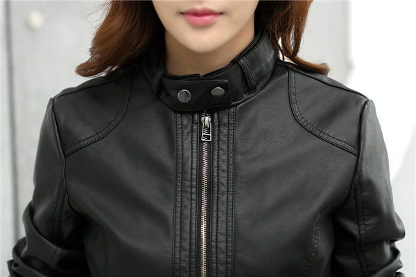 18 Fashion New Women's Jacket European Fashion Leather Jacket Pimkie Cleaning Single PU Leather Motorcycle Temale Women's Leat 9