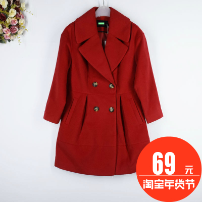 Di series ● brand discount Women's 2016 winter new double-breasted long woolen jacket W751376