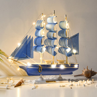 Smooth sailing sailing decoration crafts simulation solid wood small wooden boat model office decoration small furnishings gifts