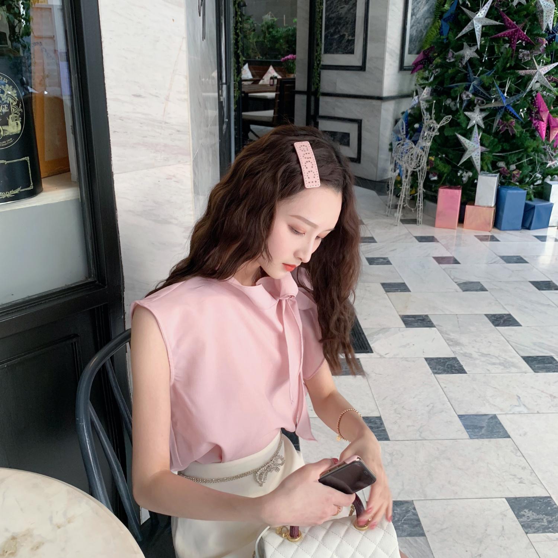 淡淡仙女粉~樱花季 仙女蝴蝶结荷叶边 立体裁剪无袖粉色衬衫女详情图