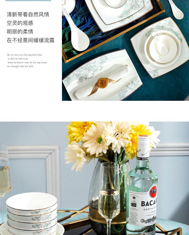Orange leaf jingdezhen ceramic tableware suit European dishes suit household bowls of ipads plate of western - style Vivian