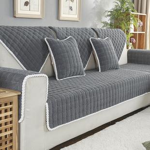 冬季天毛绒沙发垫加厚现代简约素欧式布艺防滑坐垫沙发罩套巾定做