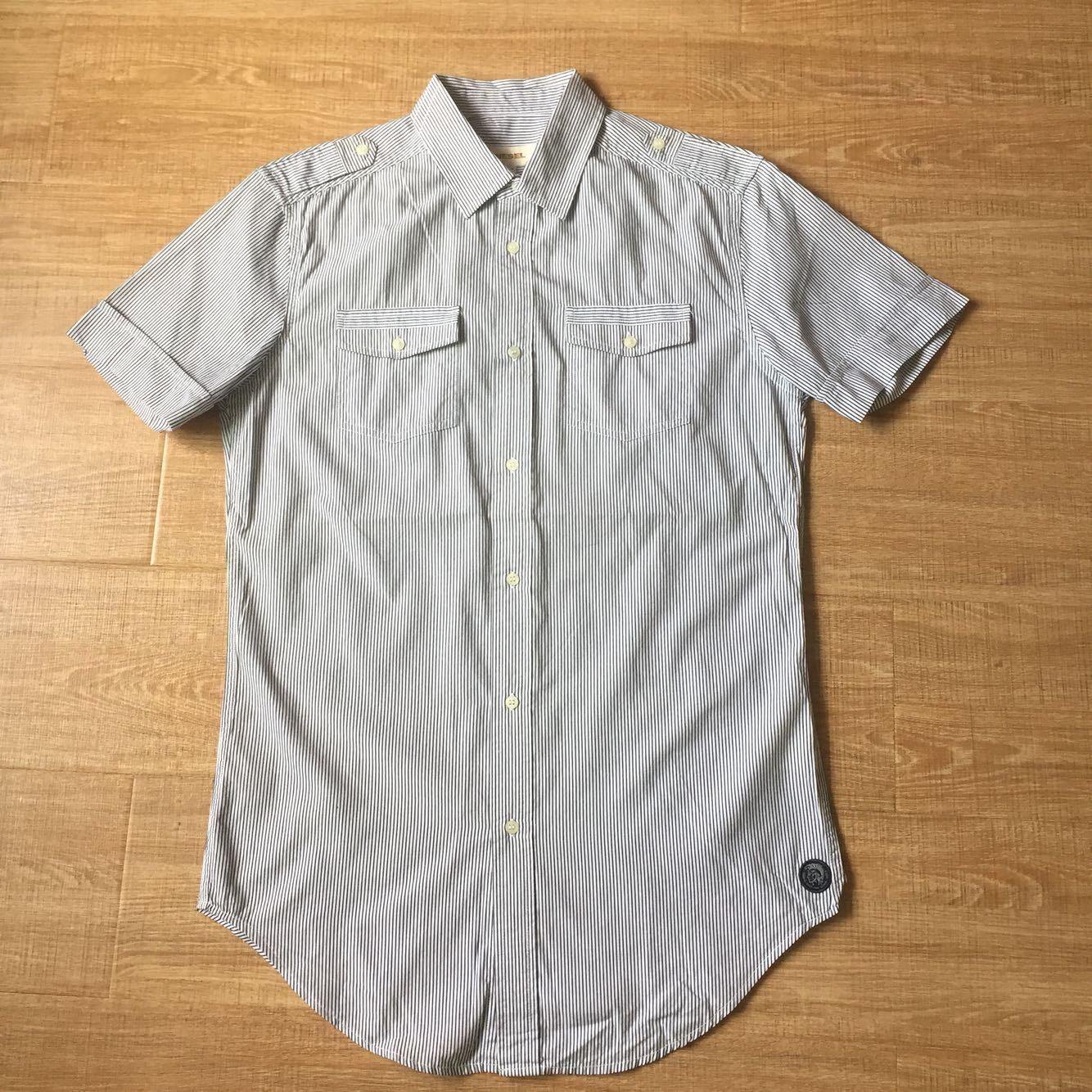 杂款 意式风情 男士纯棉双口袋肩章设计修身短袖衬衫