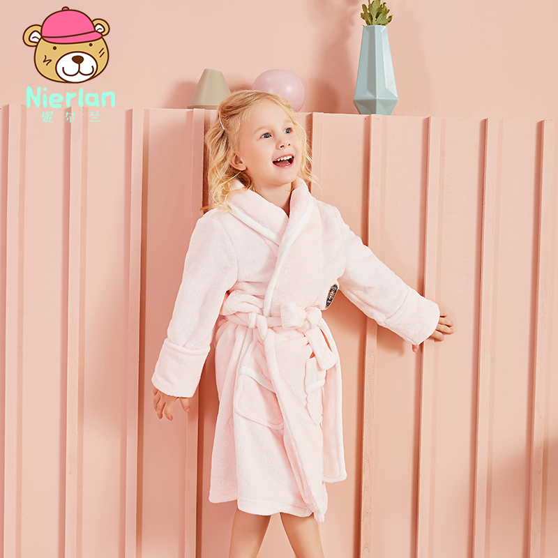 c9b8e11de12e USD 34.74  Children s autumn and winter coral velvet robe bathrobe ...