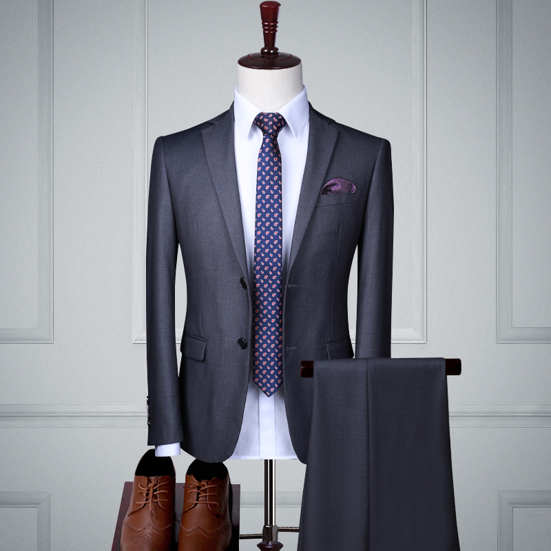 Gray Double Buckle Two-piece Suit (top + Pants)