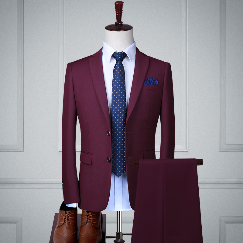 Fuchsia Double Buckle Two-piece Suit (top + Trousers)