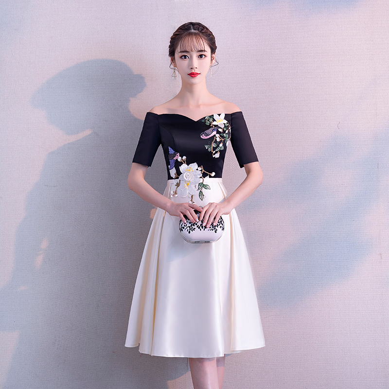 bdb5eb90493 Banquet evening dress female 2019 new word shoulder small dress skirt long  section party temperament ladies fashion was thin