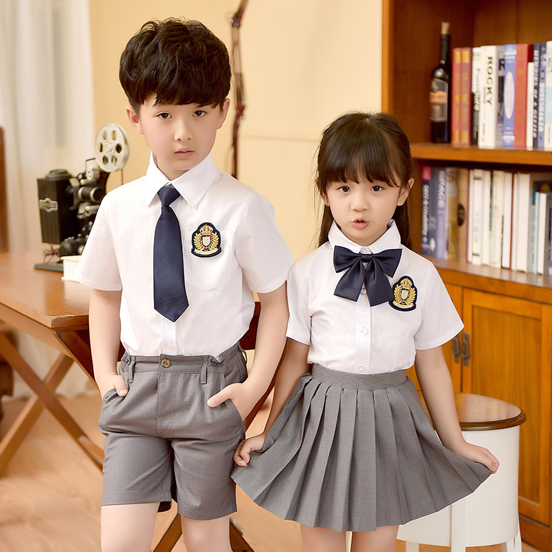 3a494ac61 2019 summer school uniform children s clothing suit men and women  short-sleeved shirt Korean version of primary and secondary school students  clothing ...