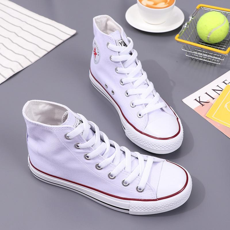 糖果经典色远步潮百搭平底帆布v糖果学生女鞋高帮白色鞋女黑色韩版