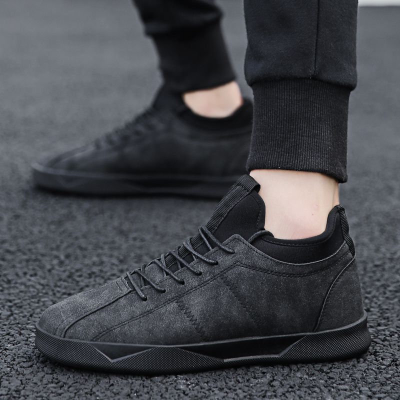 2018 new autumn men's shoes Korean version of the trend of black wild shoes men's sports and leisure society guys tide shoes