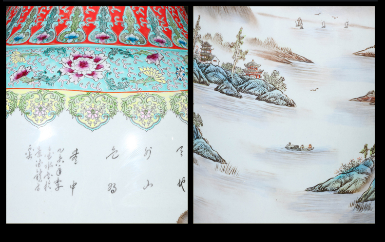 Jingdezhen ceramics hand - made pastel landscapes of large vase to heavy Chinese style living room hotel furnishing articles
