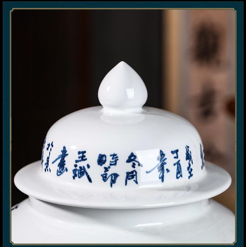 Jingdezhen ceramic masters general hand - made landing large tank storage tank Chinese TV ark adornment furnishing articles