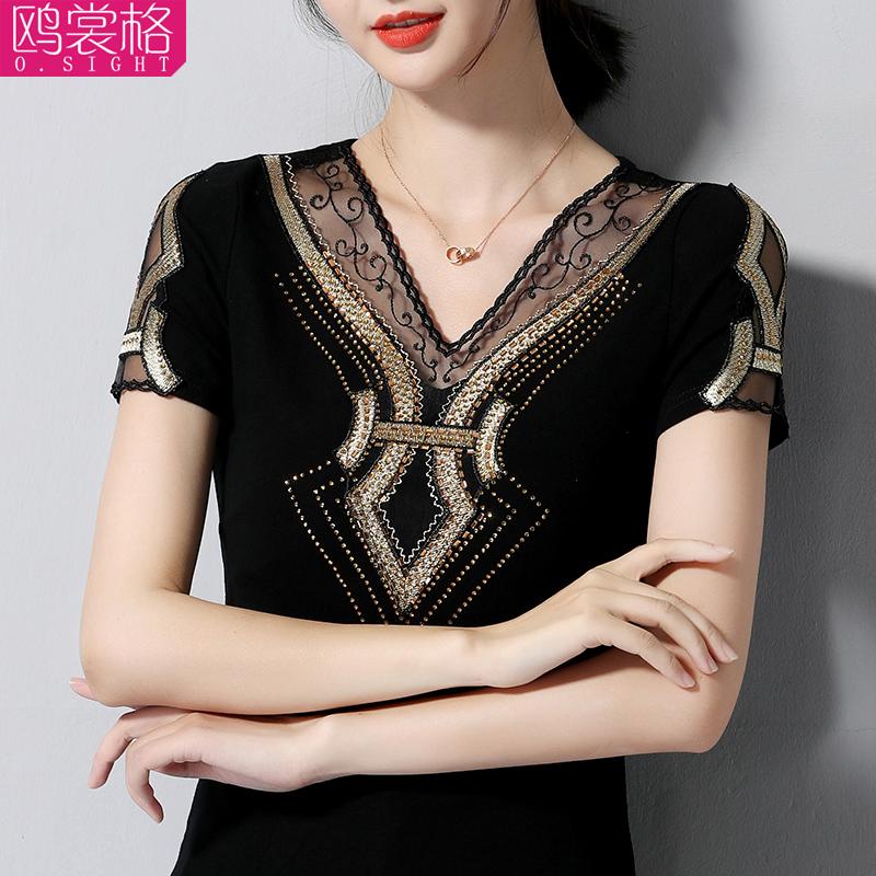 韩版修身上衣中年女V领针织短袖T恤