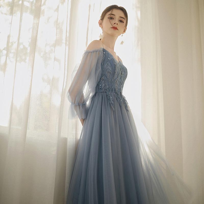婚礼服2019新款秋季气质伴娘姐妹团蓝色晚礼服连衣裙显瘦抖音同款
