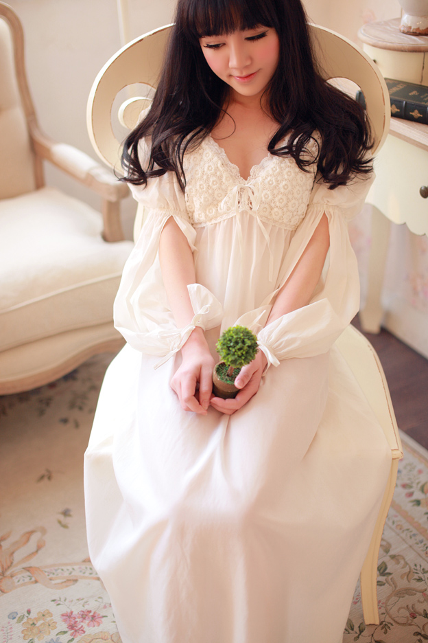 308cf0f705 Luxury silk embroidery lace long-sleeved women s nightdress British princess  nightdress court Tudor. Zoom · lightbox moreview · lightbox moreview ...