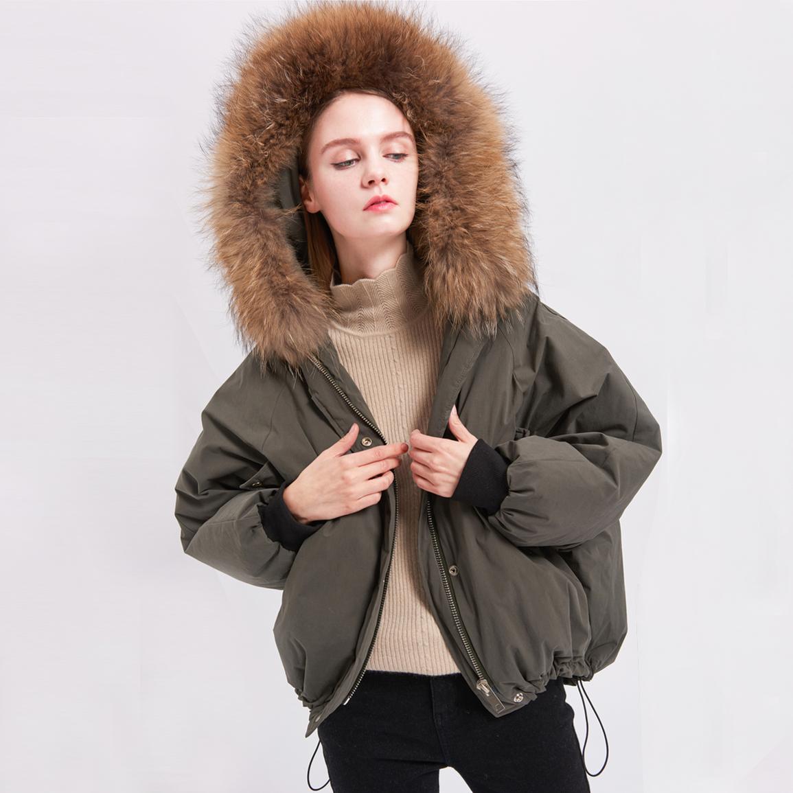 日本女����9�Y�_日蕃谷2017年冬季新款羚羊头毛领蝙蝠袖连帽显瘦羽绒服女y35650l_7折