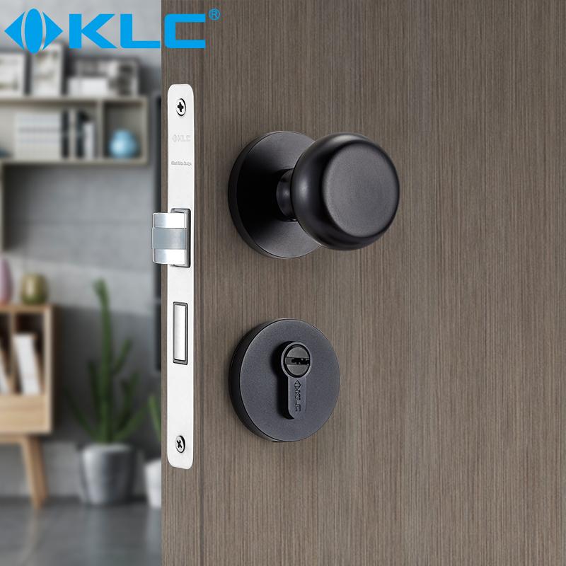 KLC靜音門鎖室內臥室黑色通用圓形執手分體門鎖
