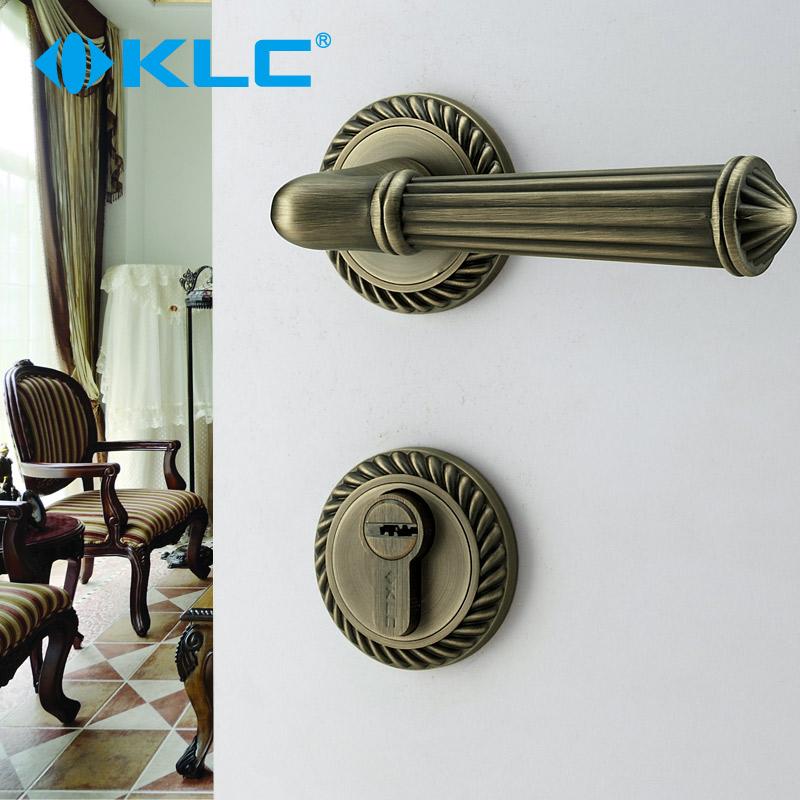 KLC室内房门锁欧式仿古青古铜分体锁具卧室实木门门锁把手