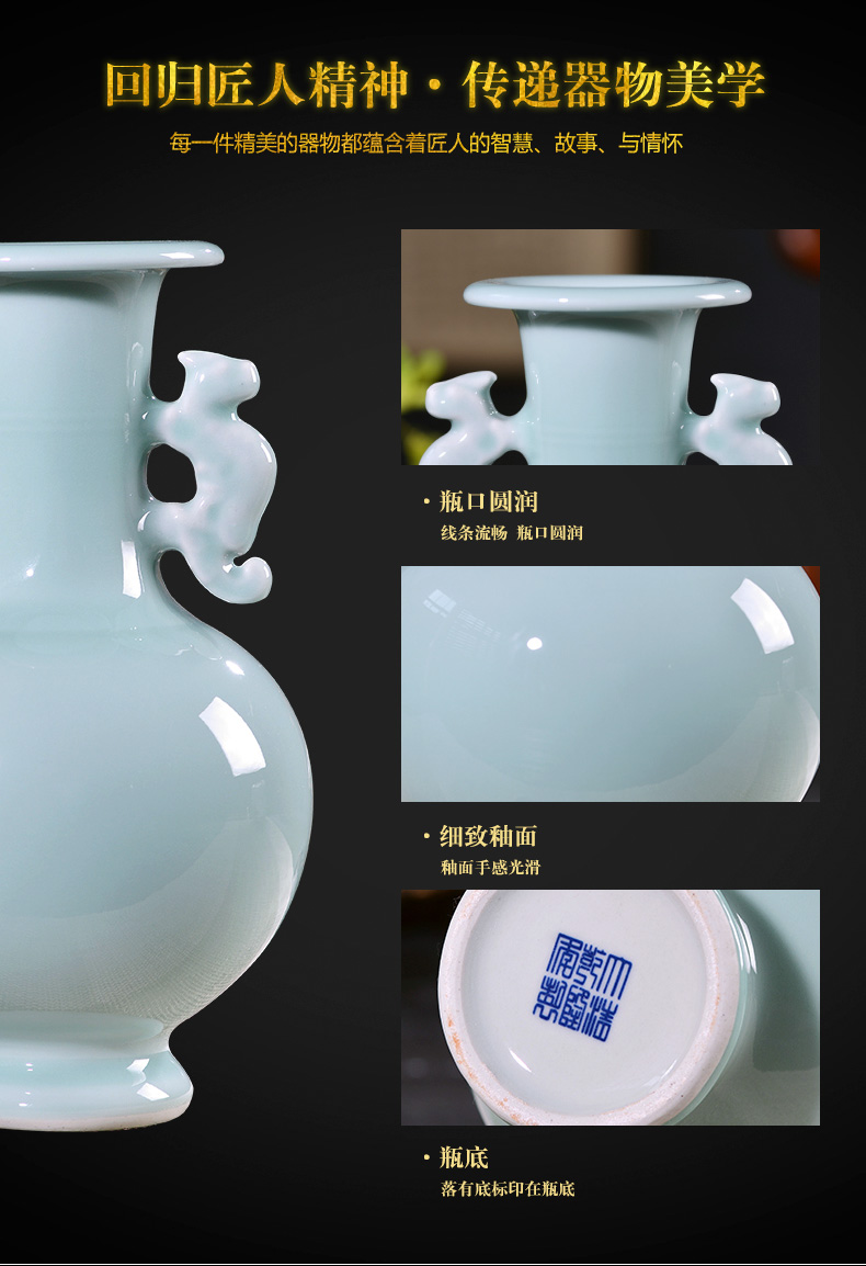 Jingdezhen ceramics floret bottle place flower arranging archaize sitting room rich ancient frame of new Chinese style household decorative arts and crafts