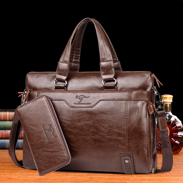 BUSINESS BROWN HAND BAG (LITCHI PATTERN)