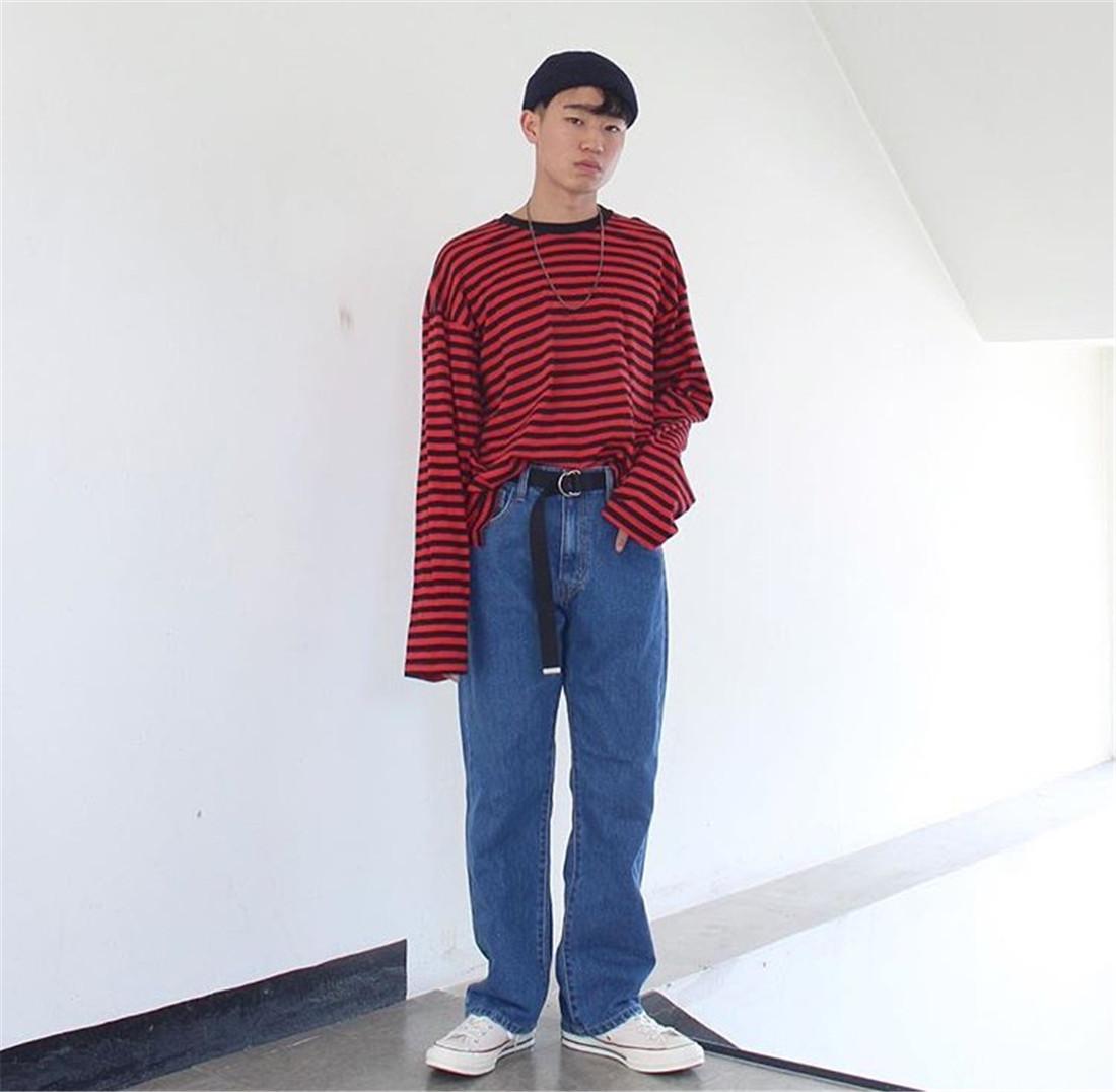 Hàn Quốc phòng thu Hàn Quốc với quần áo mùa thu đáy áo sơ mi hoang dã sọc dài tay áo 17ss người đàn ông và phụ nữ mô hình áo thun nam polo