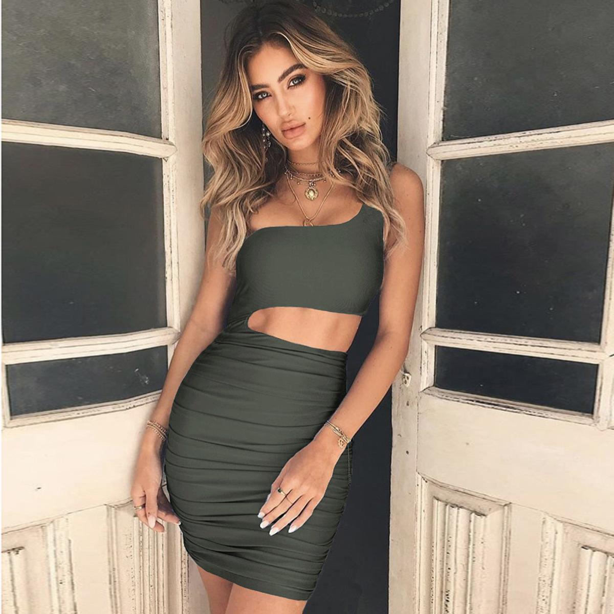 AliExpress Amazon Châu Âu và Hoa Kỳ Vai Hollow Gói Bất Thường hip nếp gấp Bra dress Tinh Khiết màu thanh niên váy