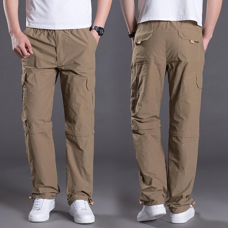 Mùa hè siêu mỏng người đàn ông mới của ngoài trời quần tây giản dị đa túi dụng cụ quần khô nhanh có thể tháo rời hai quần