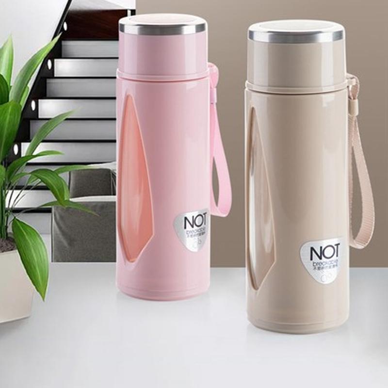 创意双层便携带盖塑玻杯杯子透明塑料玻璃杯玻璃水杯办公泡茶杯
