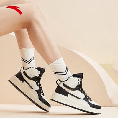 【双11预售】安踏高帮板鞋女鞋2021新款秋冬季运动鞋子女士休闲鞋