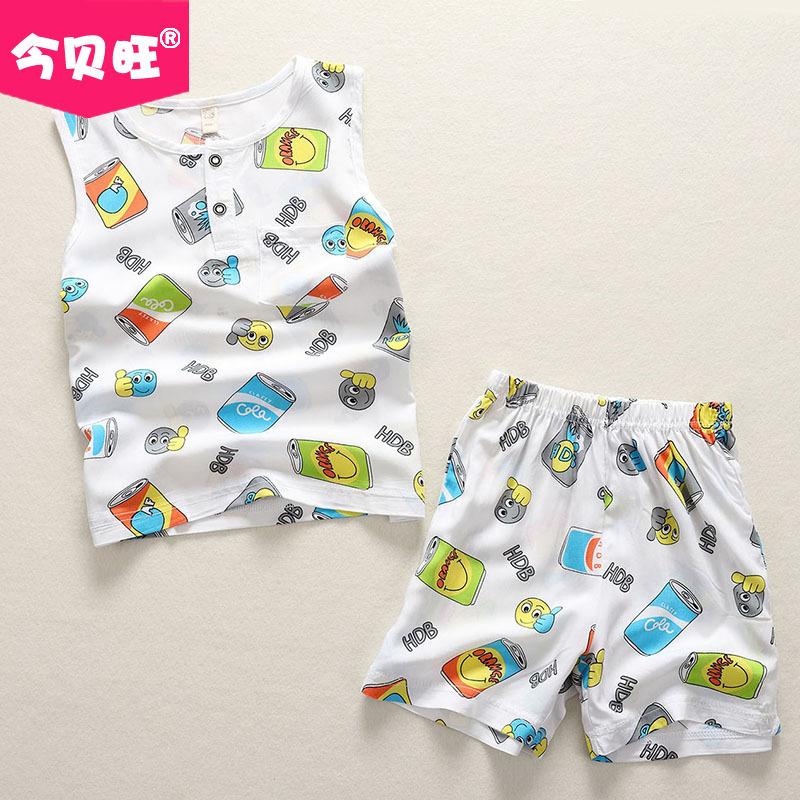 夏季男女孩儿童宝宝人造棉绸无袖背心短裤睡衣套装绵绸空调家居服