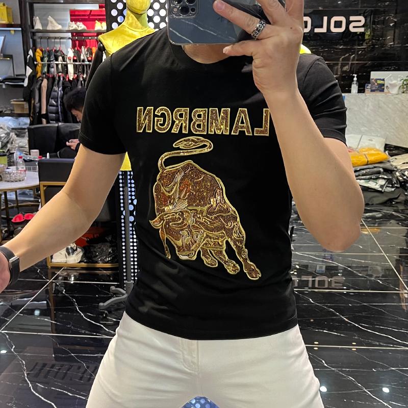 酷愛潮牌夏季新款潮流時尚個性重工金牛燙鉆短袖男帥氣修身圓領套頭T恤潮