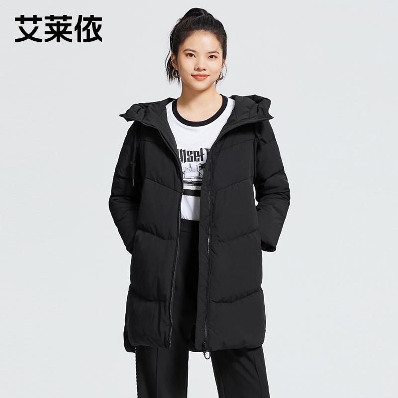 艾莱依品牌时尚黄色羽绒服女白鸭绒中长款2020冬季新款高端外套冬