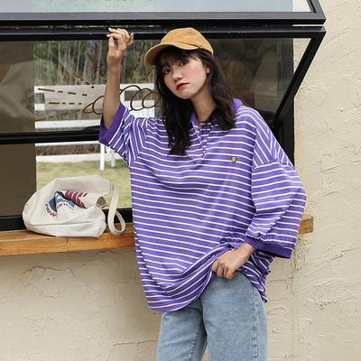 胖mm短袖2020年夏季新款大码女装显瘦宽松t恤慵懒风条纹上衣