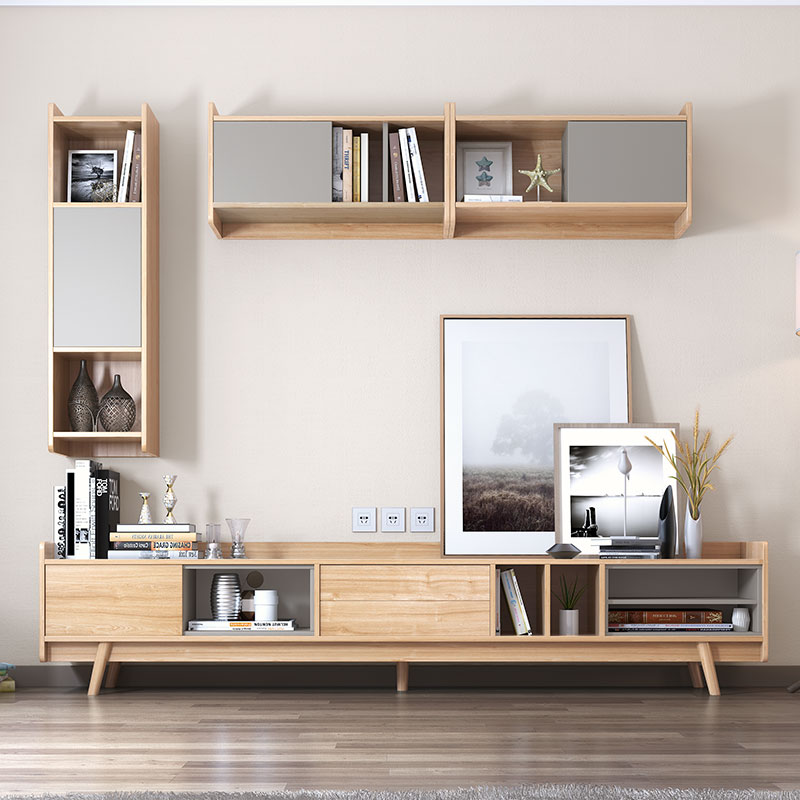 Nordic coffee table TV cabinet combination solid wood modern minimalist  small apartment Japanese style living room furniture set wood color