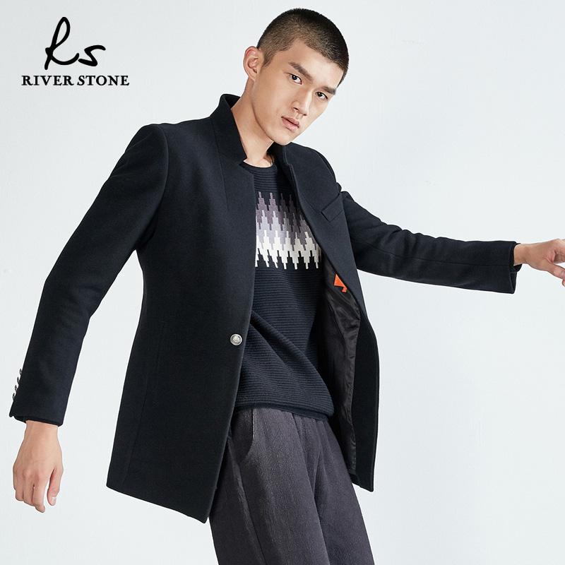 RS nam 2018 mùa đông mới thường đứng cổ áo màu rắn dài len coat coat men