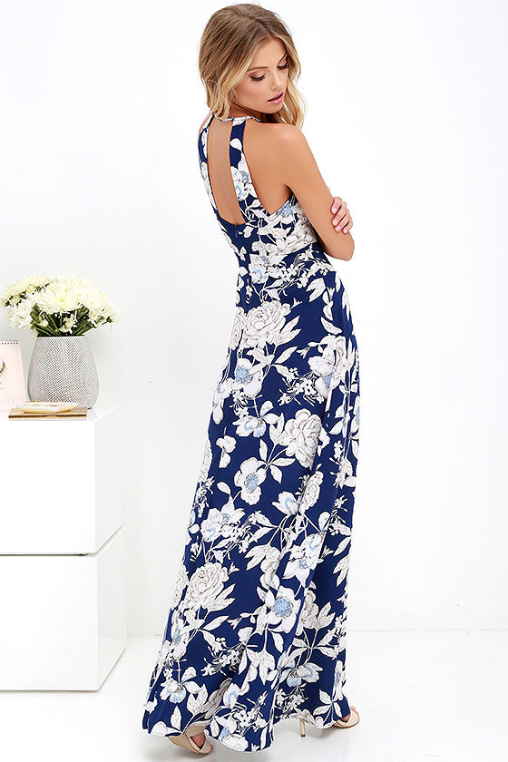 LASPERAL Womens Summer Maxi Dresses New Arrival Ladies Boho Dress Sleeveless Blue Halter Neck Floral Print Vintage Long Dress 7
