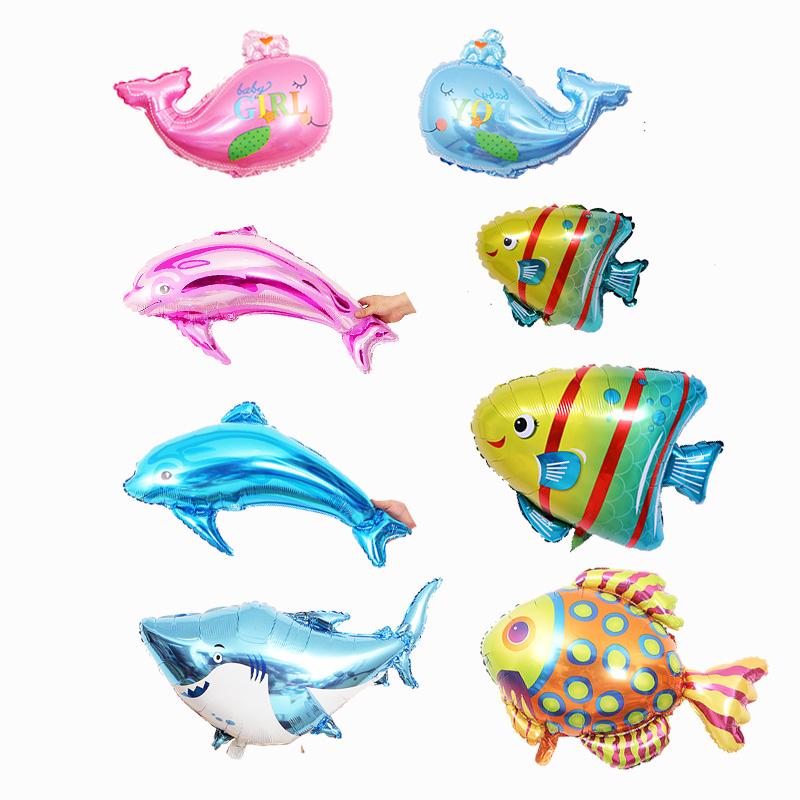 多款卡通布置生日裝飾鯊魚鯨魚海豚龍蝦熱帶魚海洋系列鋁膜氣球