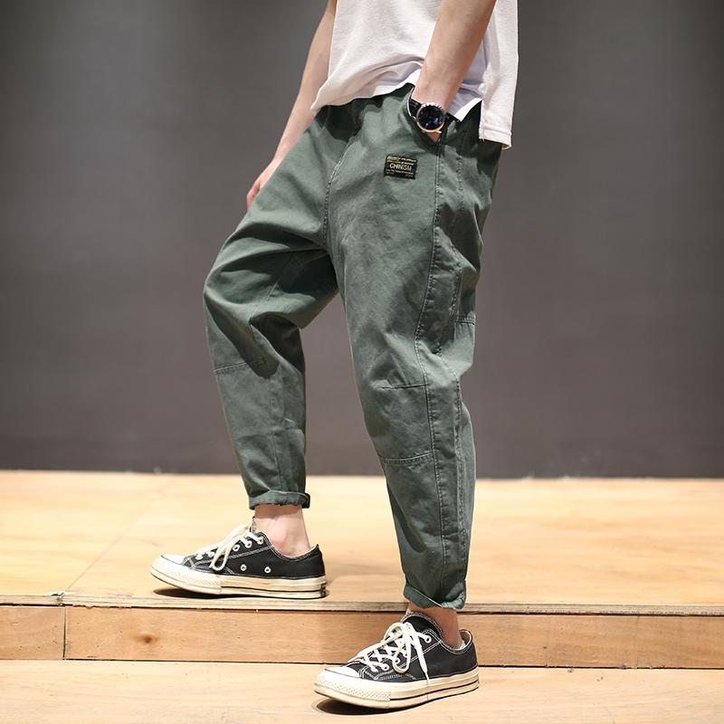 Лошадь вырезать достигать весна сезон японский ретро свободный девять очков мужской лапти брюки пакет брюки тенденция прямо брюки