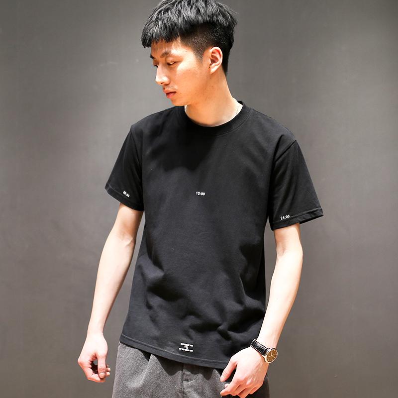 夏季韩版个性印花百搭T恤男士短袖日系青年圆领修身棉质打底衫潮