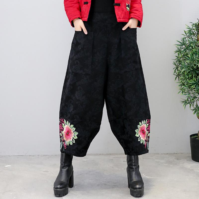 中国民族风秋冬女装 新款棉麻提花面料加厚复古阔腿裤休闲长裤