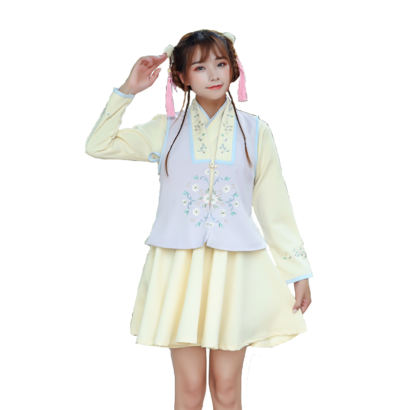 Autumn and winter new improved Han Chinese women embroidery flowers cross-collar dress than a set of Chinese style elements
