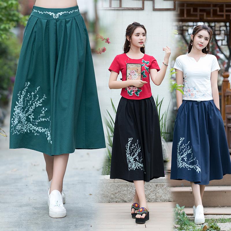 实拍2018春夏新款民族风女装中国文化刺绣 唯美棉麻 松紧腰半身裙