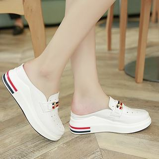 2021 summer new white shoes Baotou half slippers female Korean version of the thick bottom lazy fashion all-match external wear sandals women